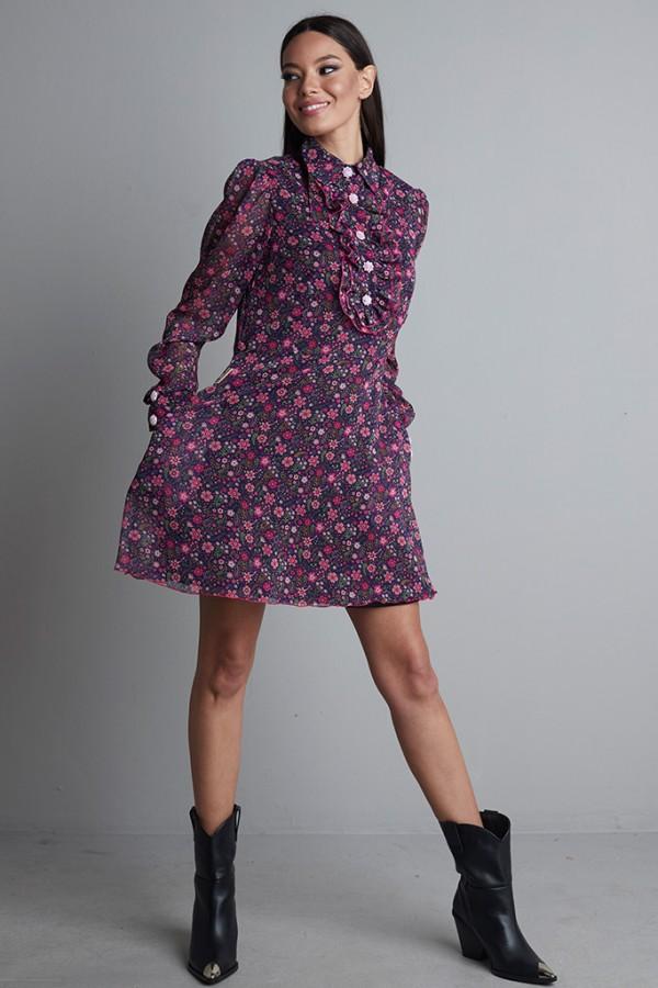Vestido capa gasa morado flores