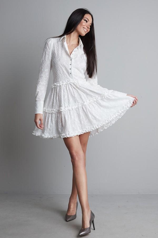 Vestido volantes algodón bordado