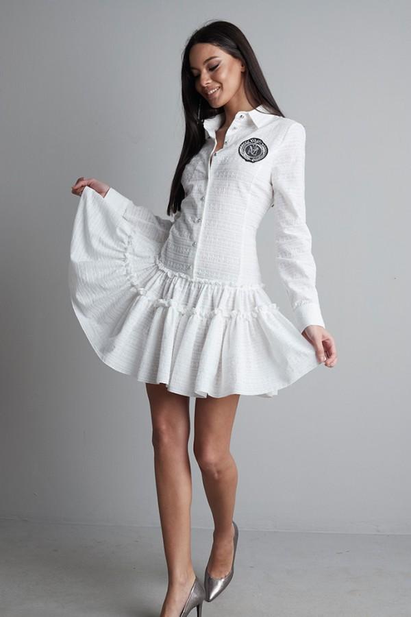 Vestido Volantes entallado algodón perforado