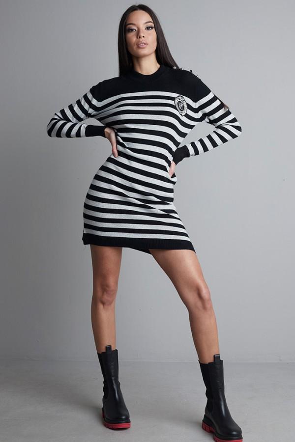Vestido punto rayas gris / negro
