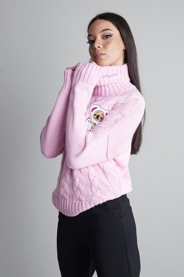 Jersey ochos cuello alto Rosa