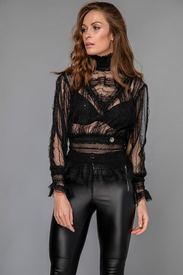 Camisa encaje negro
