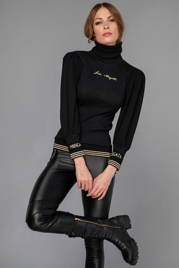 Jersey canalé cuello cisne negro