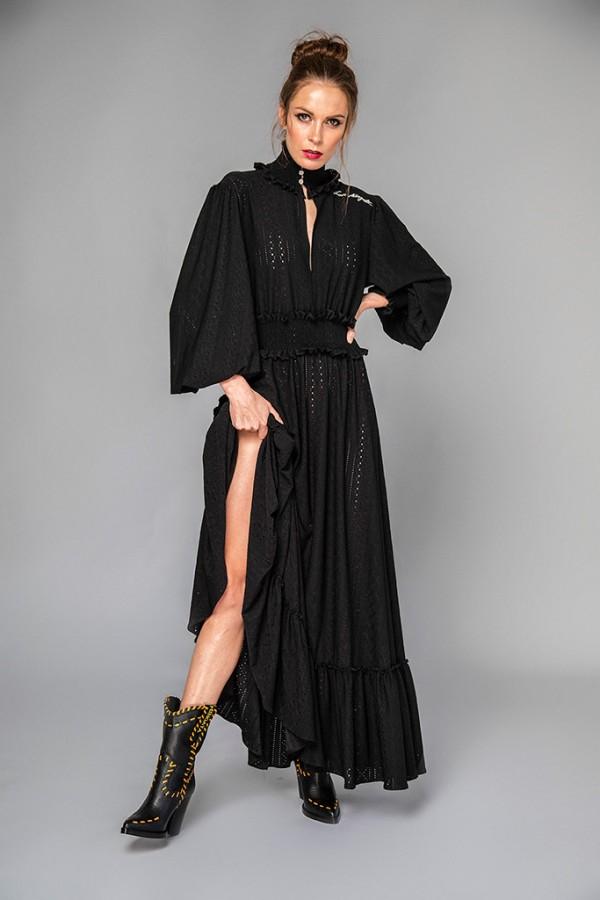 Vestido largo algodón perforado negro