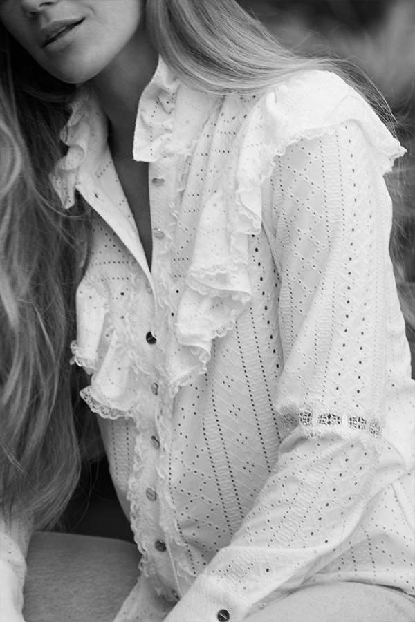 Camisa algodón perforado blanco